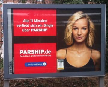 Werbung von Parship, alle 11 Minuten verliebt sich...