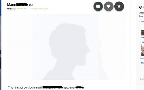Onlinedating-Profil ohne Foto, hier von der Singlebörse Finya.de