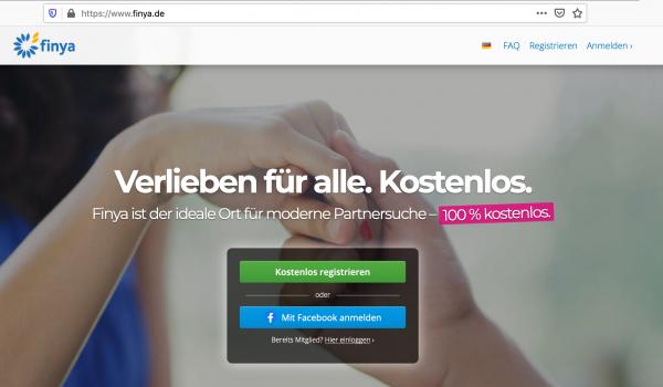"""Startseite der Singlebörse Finya: """"Verlieben für alle. Kostenlos"""""""