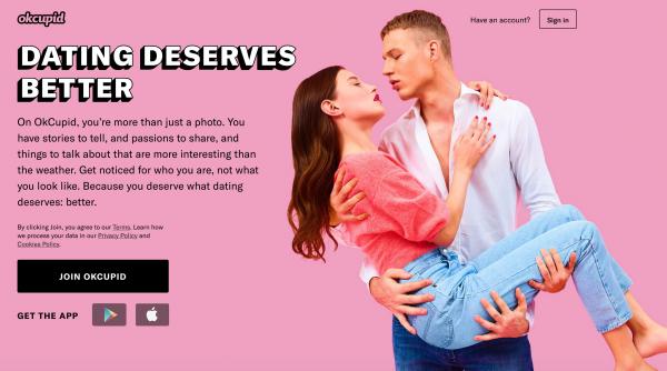 Startseite der Partnerbörse OKCupid.com