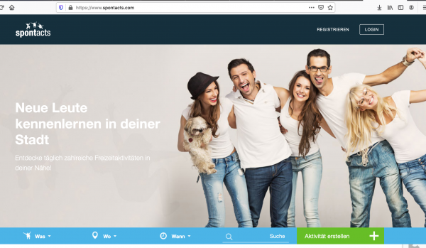 Startseite von Kontaktforum Spontacts.de